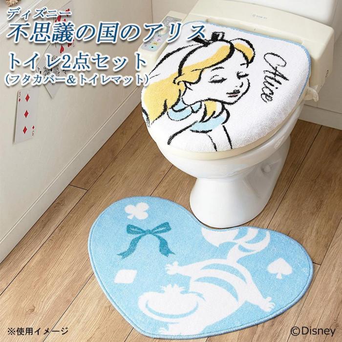 トイレ2点セット(フタカバー&トイレマット) ディズニー 不思議の国のアリス NDY-39