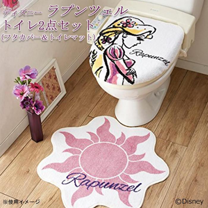 トイレ2点セット(フタカバー&トイレマット) ディズニー ラプンツェル NDY-34
