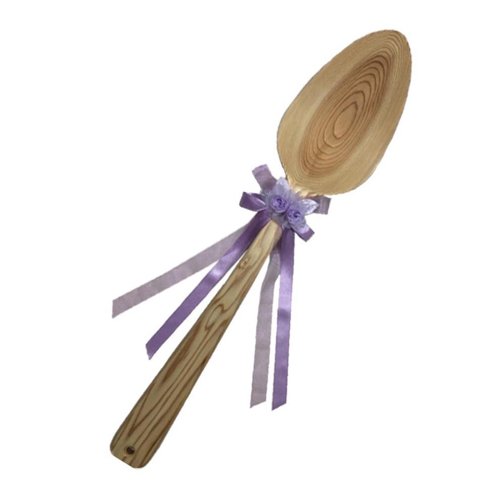 ファーストバイトに! ビッグウエディングスプーン 誓いのスプーン クリア 90cm 薄紫色リボン