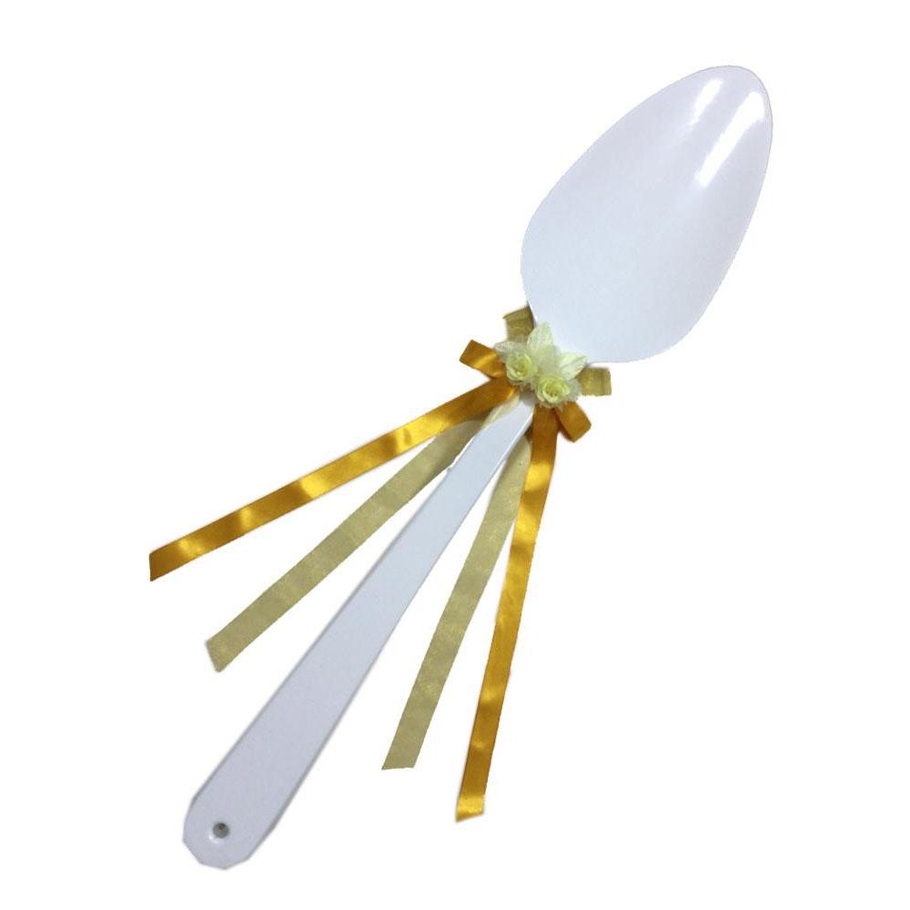 ファーストバイトに! ビッグウエディングスプーン 誓いのスプーン ホワイト 90cm 黄色リボン