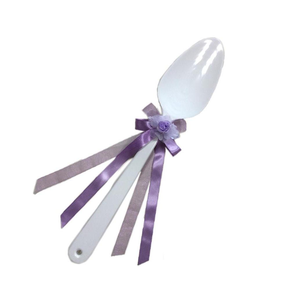 ファーストバイトに! ビッグウエディングスプーン 誓いのスプーン ホワイト 60cm 薄紫色リボン