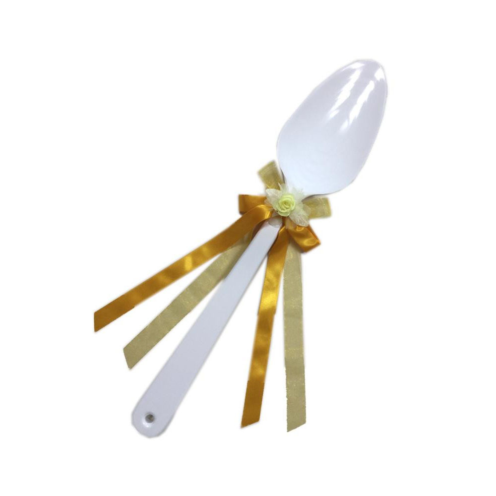 ファーストバイトに! ビッグウエディングスプーン 誓いのスプーン ホワイト 60cm 黄色リボン