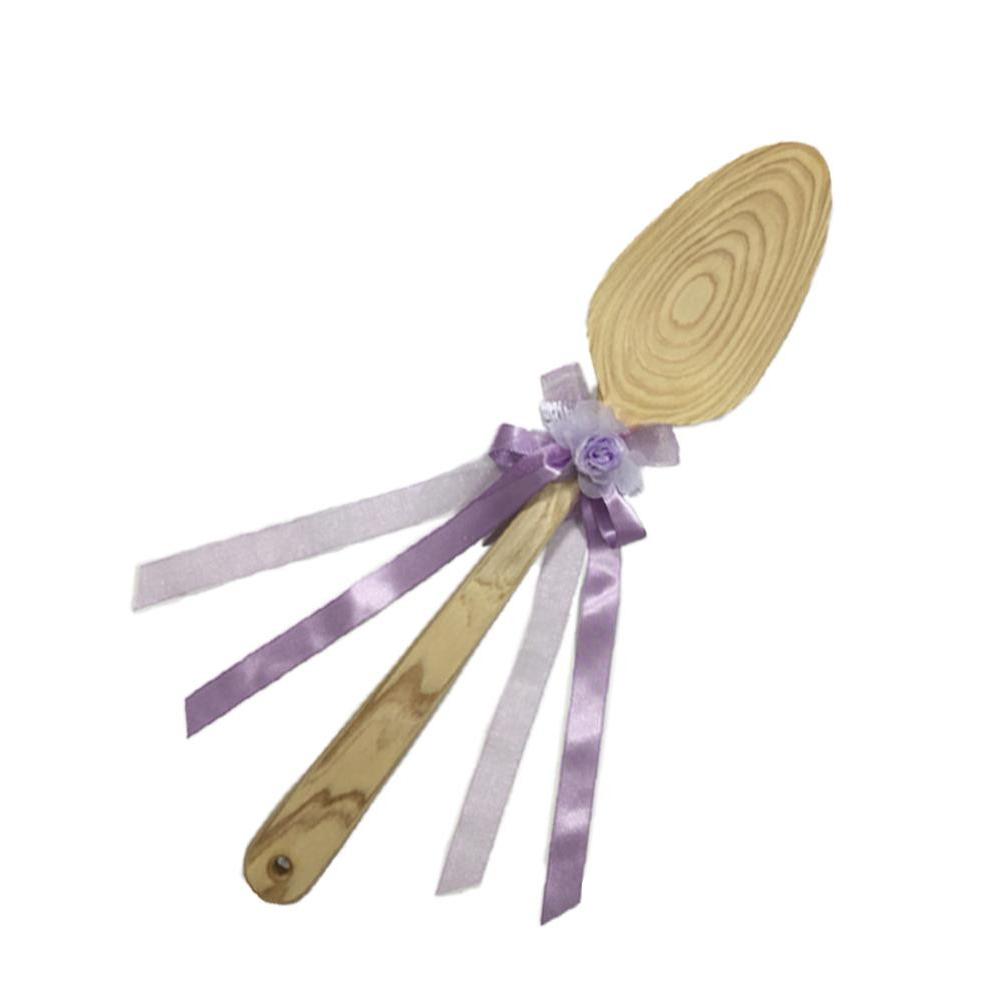 ファーストバイトに! ビッグウエディングスプーン 誓いのスプーン クリア 60cm 薄紫色リボン