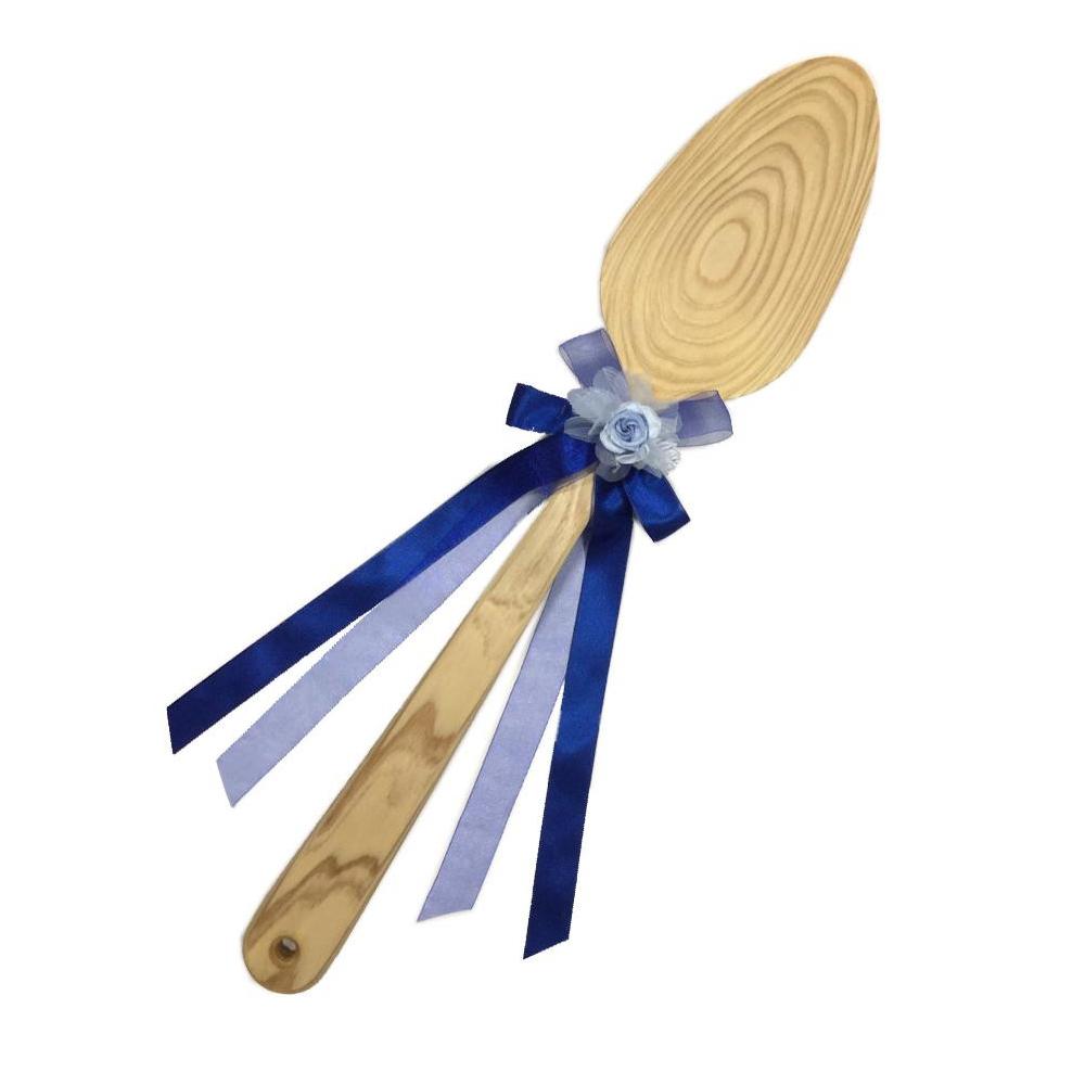 ファーストバイトに! ビッグウエディングスプーン 誓いのスプーン クリア 60cm 青色リボン