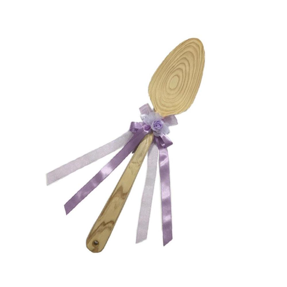 ファーストバイトに! ビッグウエディングスプーン 誓いのスプーン クリア 45cm 薄紫色リボン