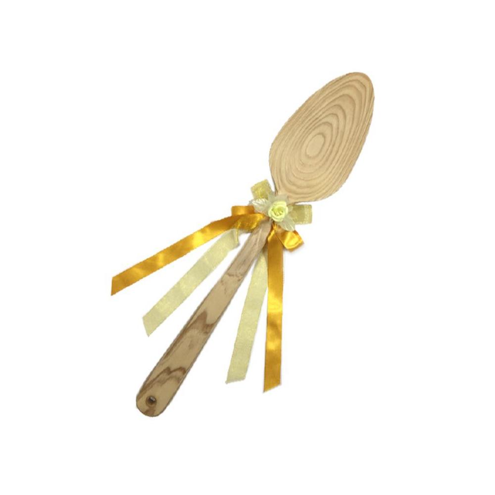 ファーストバイトに! ビッグウエディングスプーン 誓いのスプーン クリア 45cm 黄色リボン