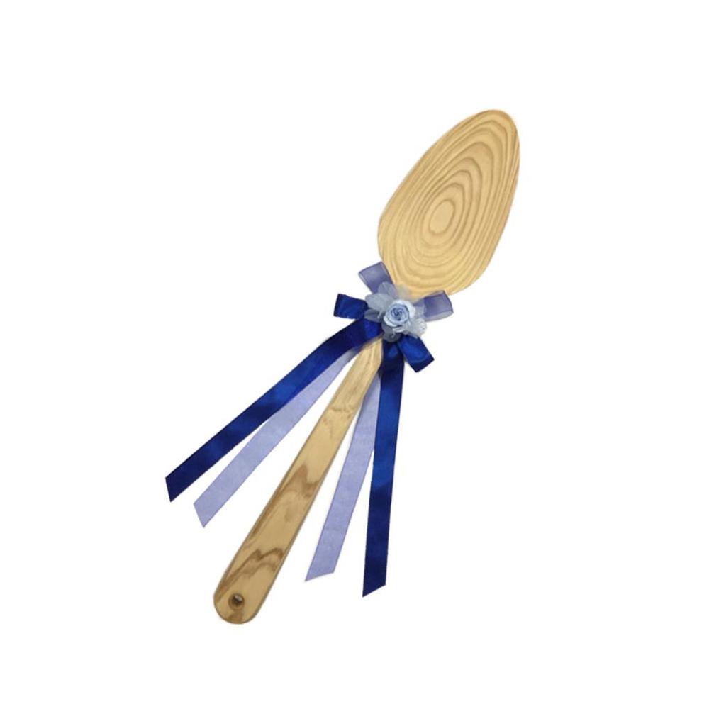 ファーストバイトに! ビッグウエディングスプーン 誓いのスプーン クリア 45cm 青色リボン