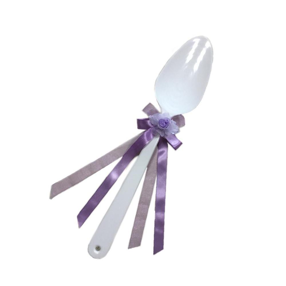 ファーストバイトに! ビッグウエディングスプーン 誓いのスプーン ホワイト 45cm 薄紫色リボン