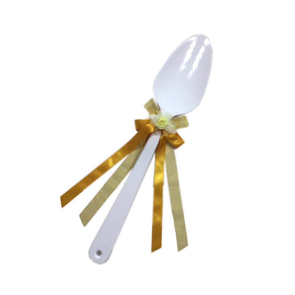 ファーストバイトに! ビッグウエディングスプーン 誓いのスプーン ホワイト 45cm 黄色リボン