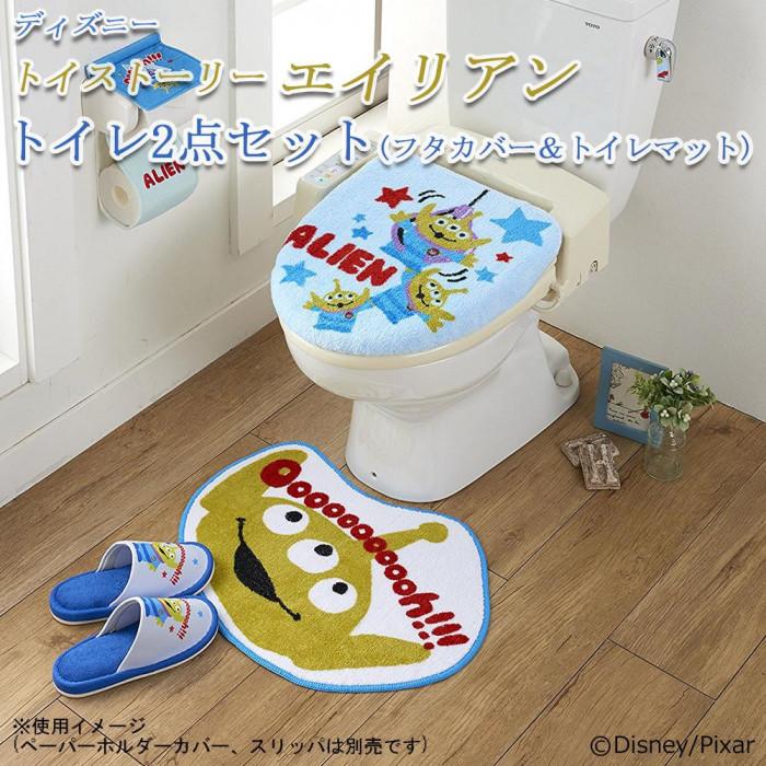 トイレ2点セット(フタカバー&トイレマット) ディズニー トイストーリー エイリアン SB-254