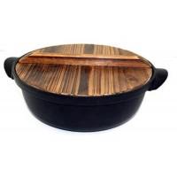 土鍋風鉄鍋 木蓋付 22
