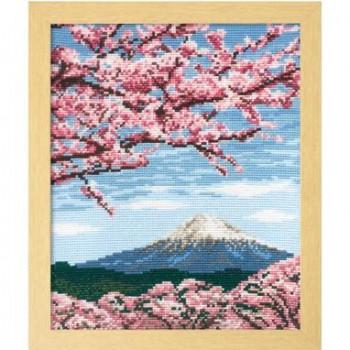 7386 オリムパス ししゅうキット フレーム 桜と富士山