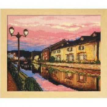 7387 オリムパス ししゅうキット フレーム 夕暮れの小樽運河