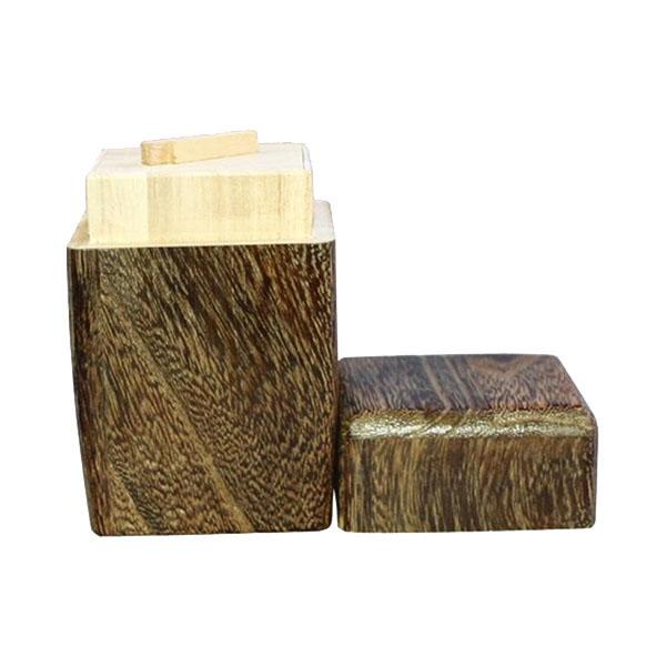 0M26-5 丸十 木製 桐 角型茶筒