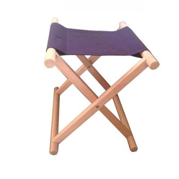 鈴木木工所 角細足胡床 白木紫布 低型