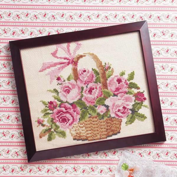 ししゅうキット 887(ベージュ) 花・風景シリーズ バラの花かご