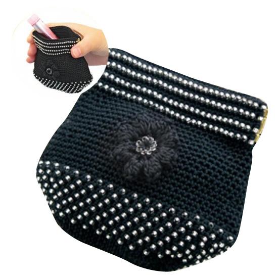 オリムパス エミーグランデで編む ビーズクロッシェキット お花のポーチ(黒) EG-109