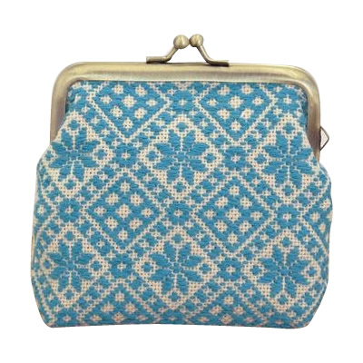 オリムパス 日本の伝統刺繍 こぎんキット がま口ポーチ 角型(ベージュ) 38