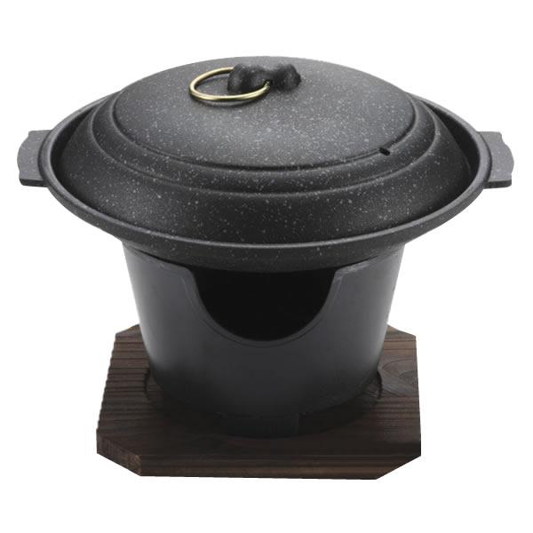 ストロングマーブル懐石 陶板焼17cmコンロ付セット H-5362