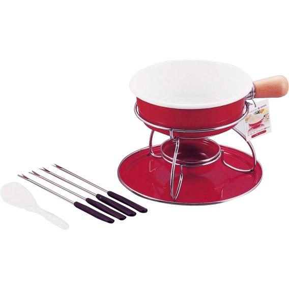 ベルマーニ ホーローチーズフォンデュ鍋セット(レッド) H-3091